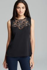 Milly Top Leather Embellished Sleeveless - Lyst