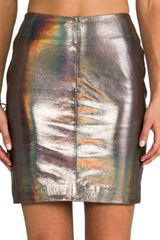Muubaa X Revolve Kowie Leather Skirt in Metallic Silver - Lyst
