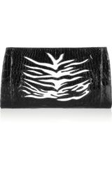 Nancy Gonzalez Zebrapatterned Crocodile Clutch - Lyst