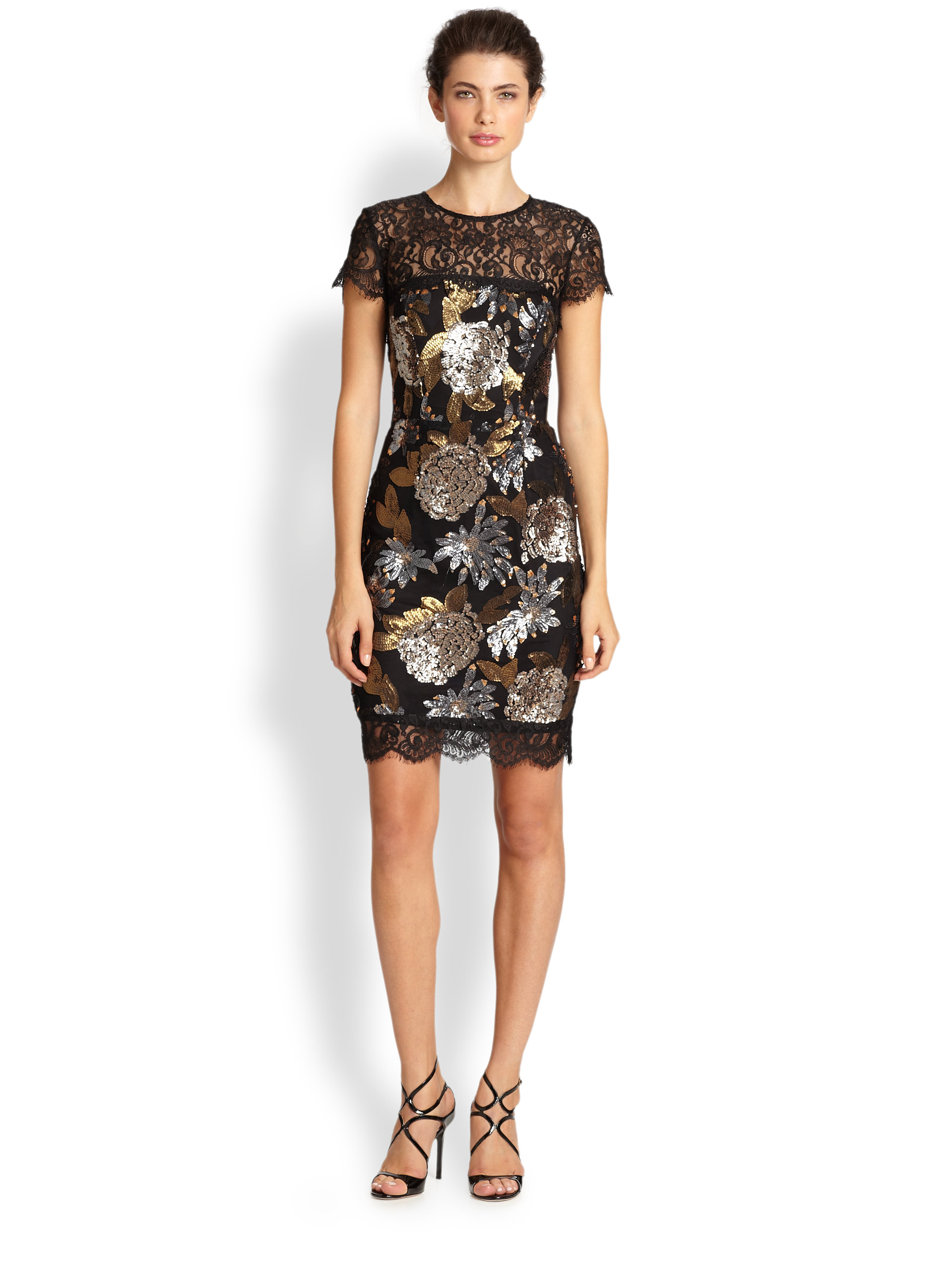 Lyst - Nicole Miller Floral sequin Cocktail Dress in Black