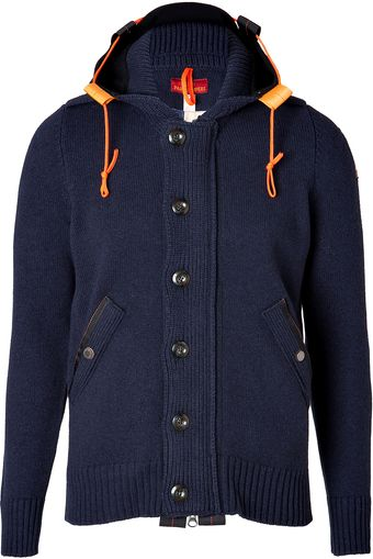 Parajumpers Wool Blend Brush Run Cardigan in Navy - Lyst