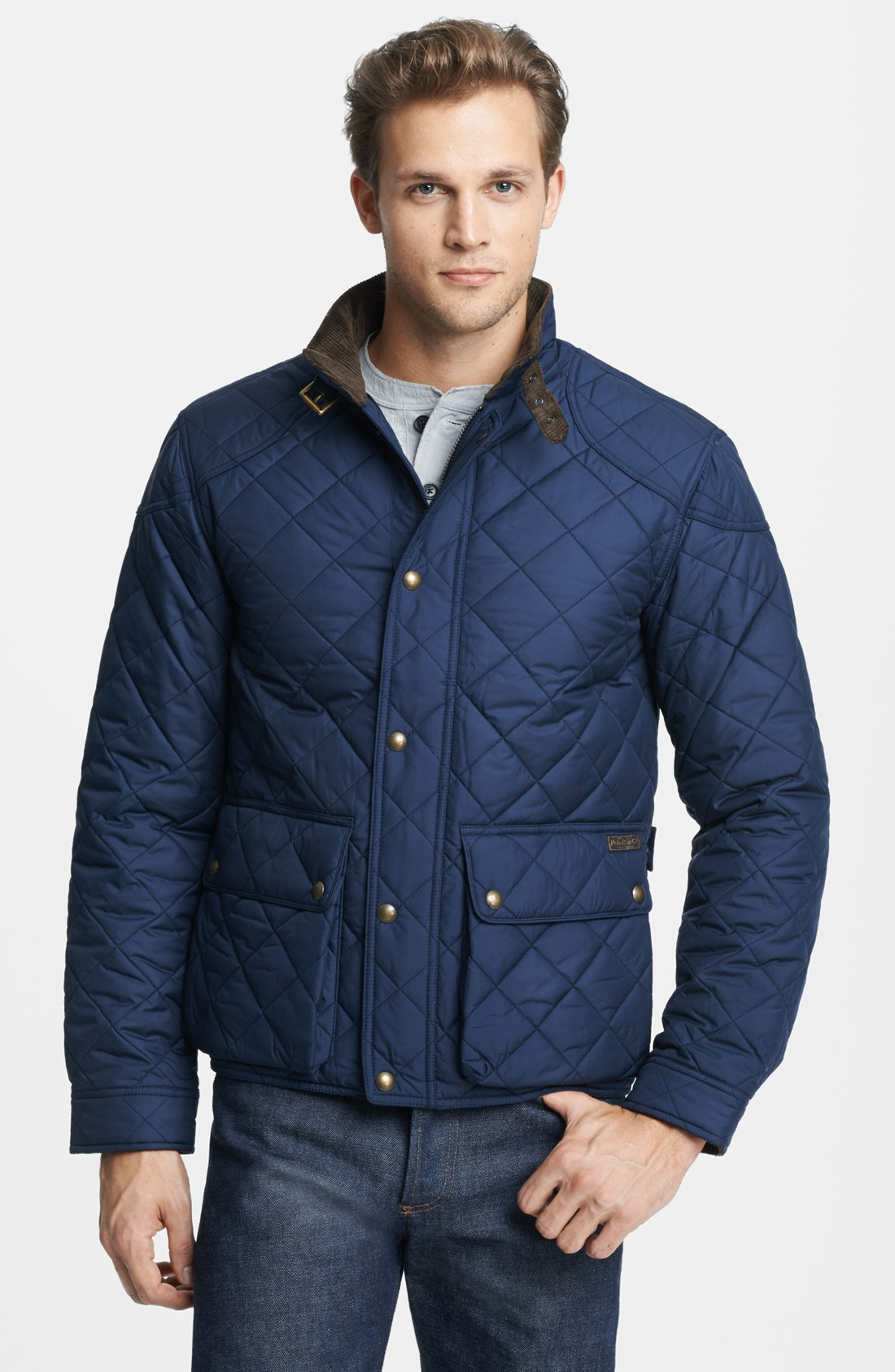 polo ralph lauren cadwell quilted bomber jacket in blue for men. Black Bedroom Furniture Sets. Home Design Ideas
