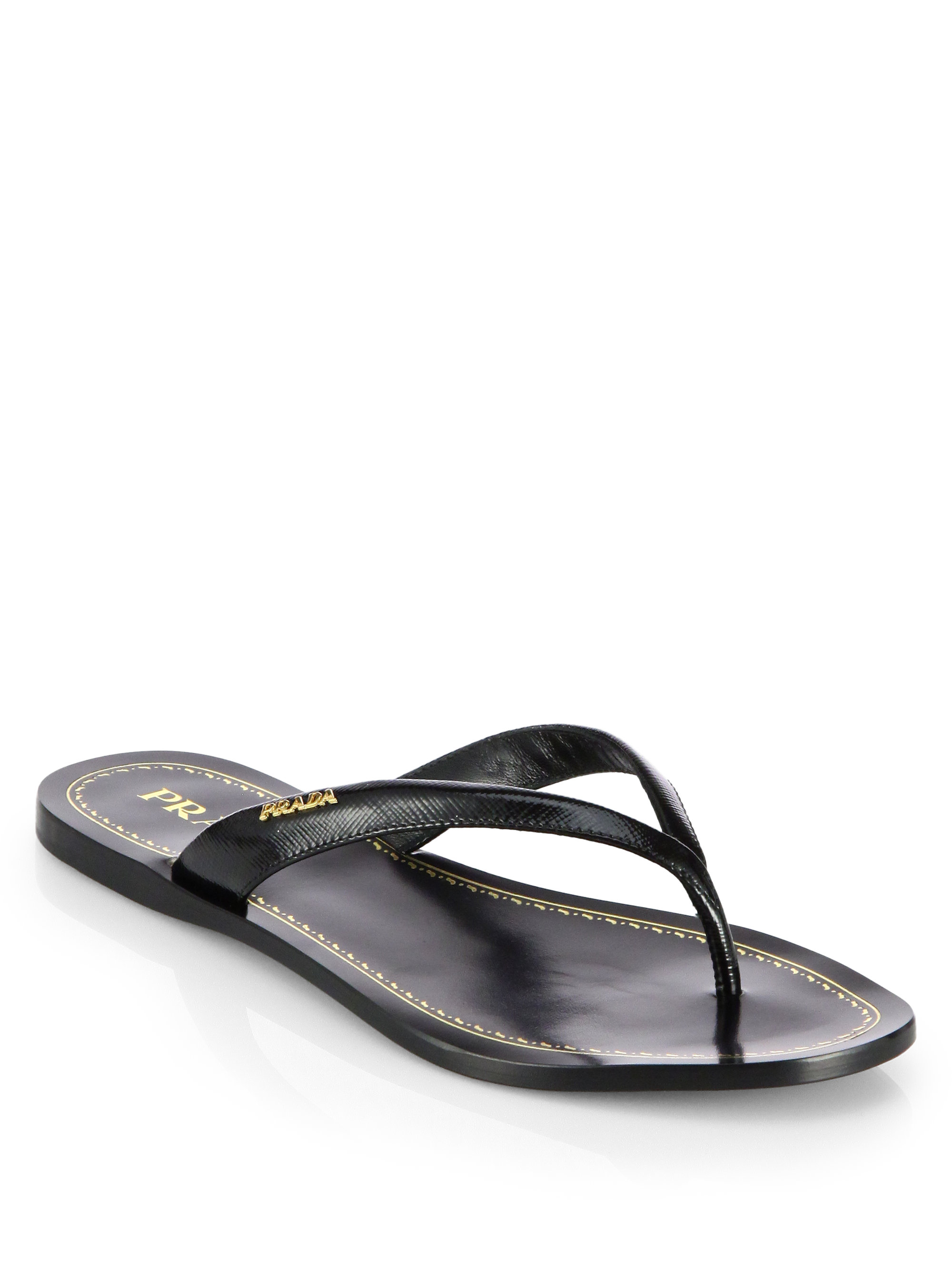 Prada Saffiano Patent Leather Thong Sandals In Black Lyst