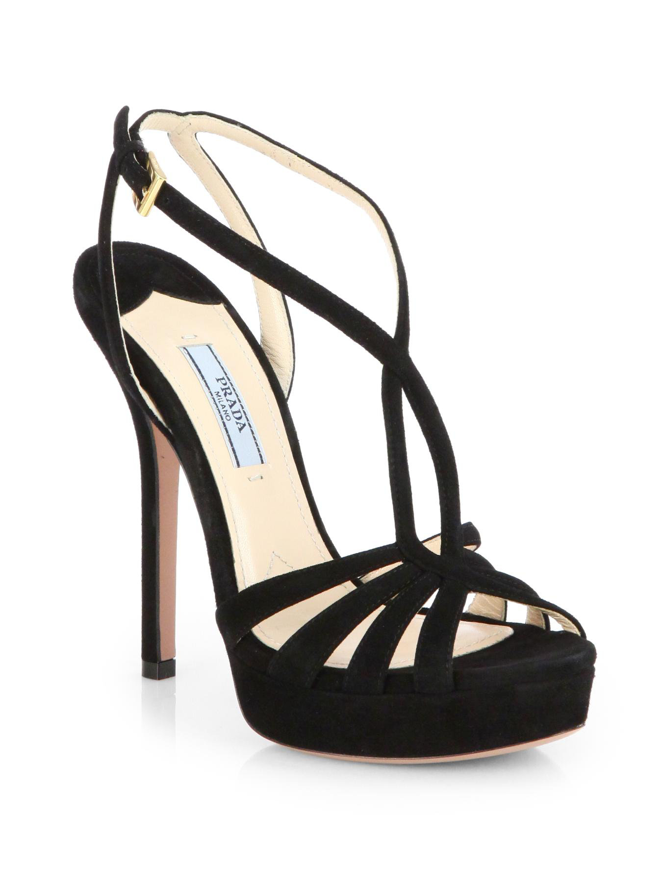 Prada Strappy Suede Platform Sandals in Black | Lyst