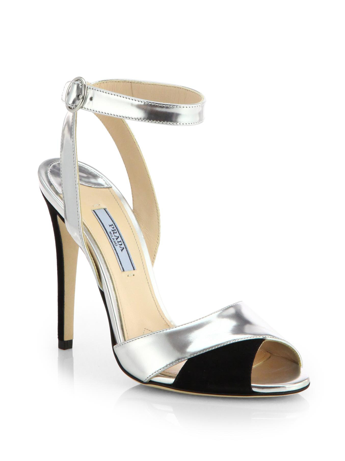 Lyst Prada Metallic Leather Suede Evening Sandals In