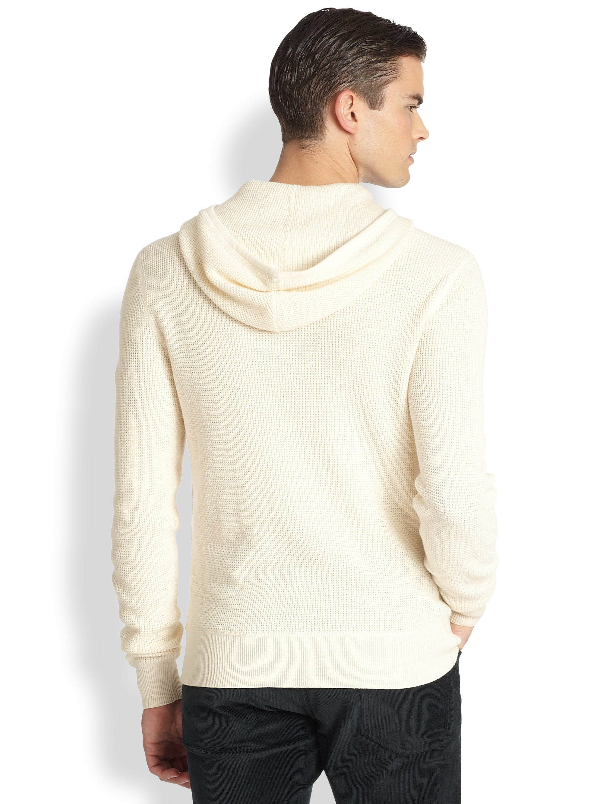 Lyst Ralph Lauren Black Label Waffle Knit Hoodie In White For Men