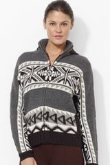 Ralph Lauren Lauren Hooded Fair Isle Sweater - Lyst