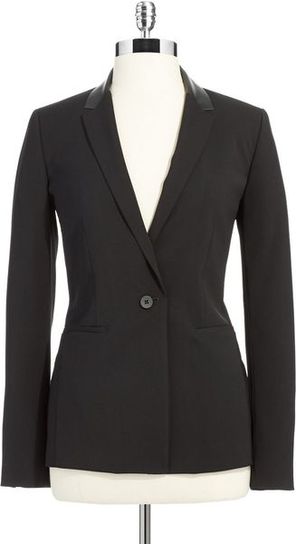 T Tahari Suit Jacket with Faux Leather Accent - Lyst