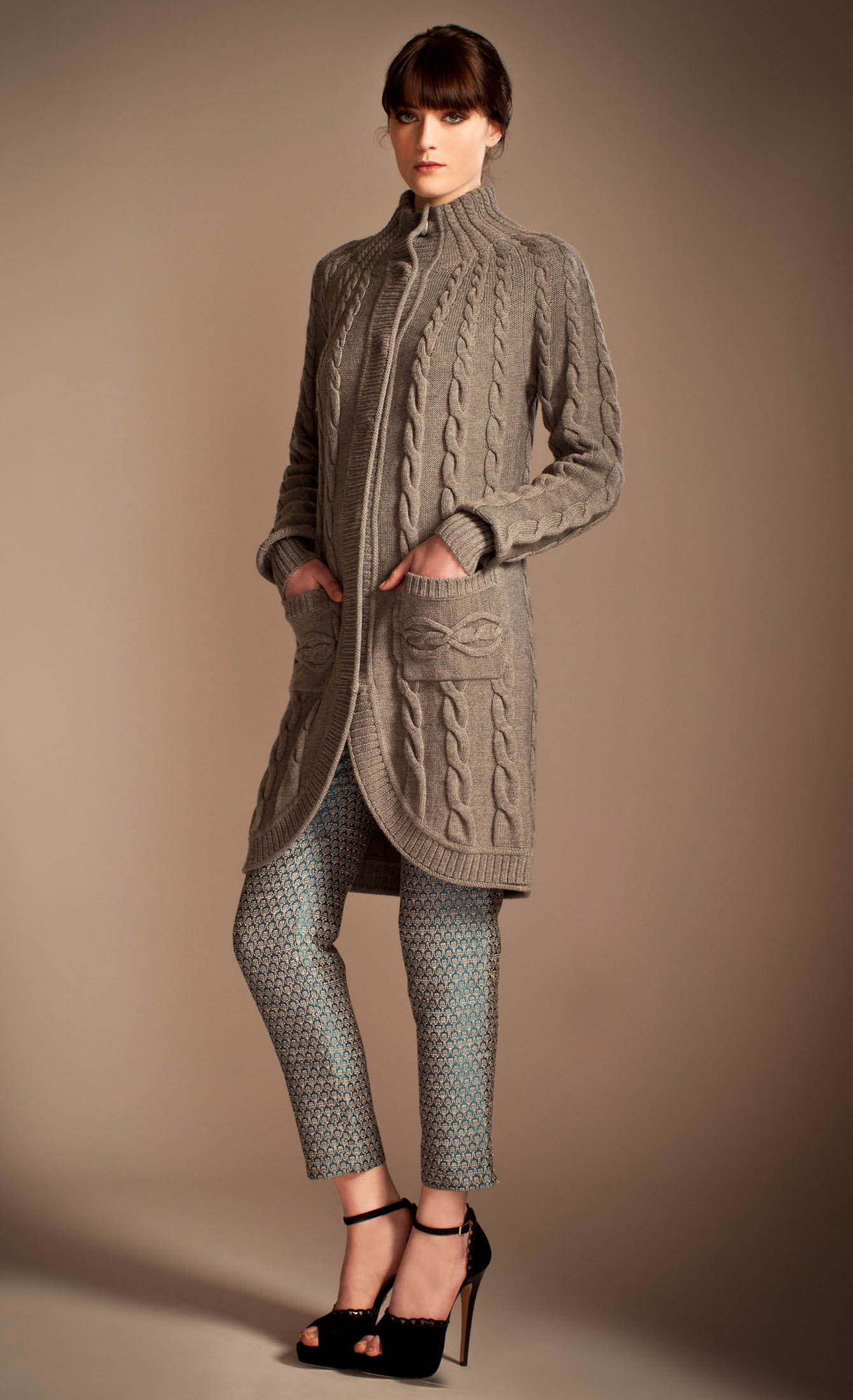 Lyst Temperley London Magdelena Knitted Coat In Gray