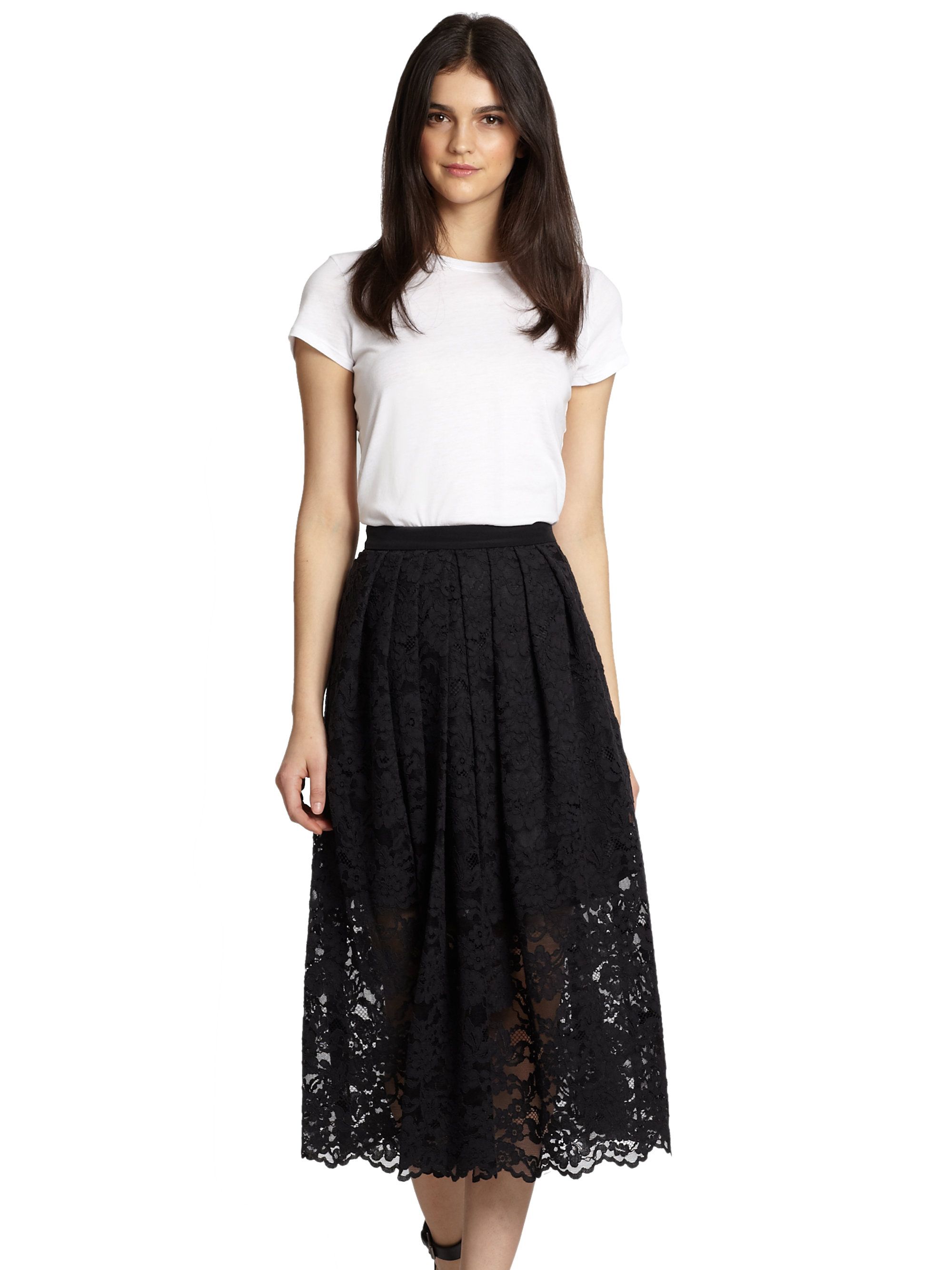 Tibi Lace Midi Skirt in Black | Lyst