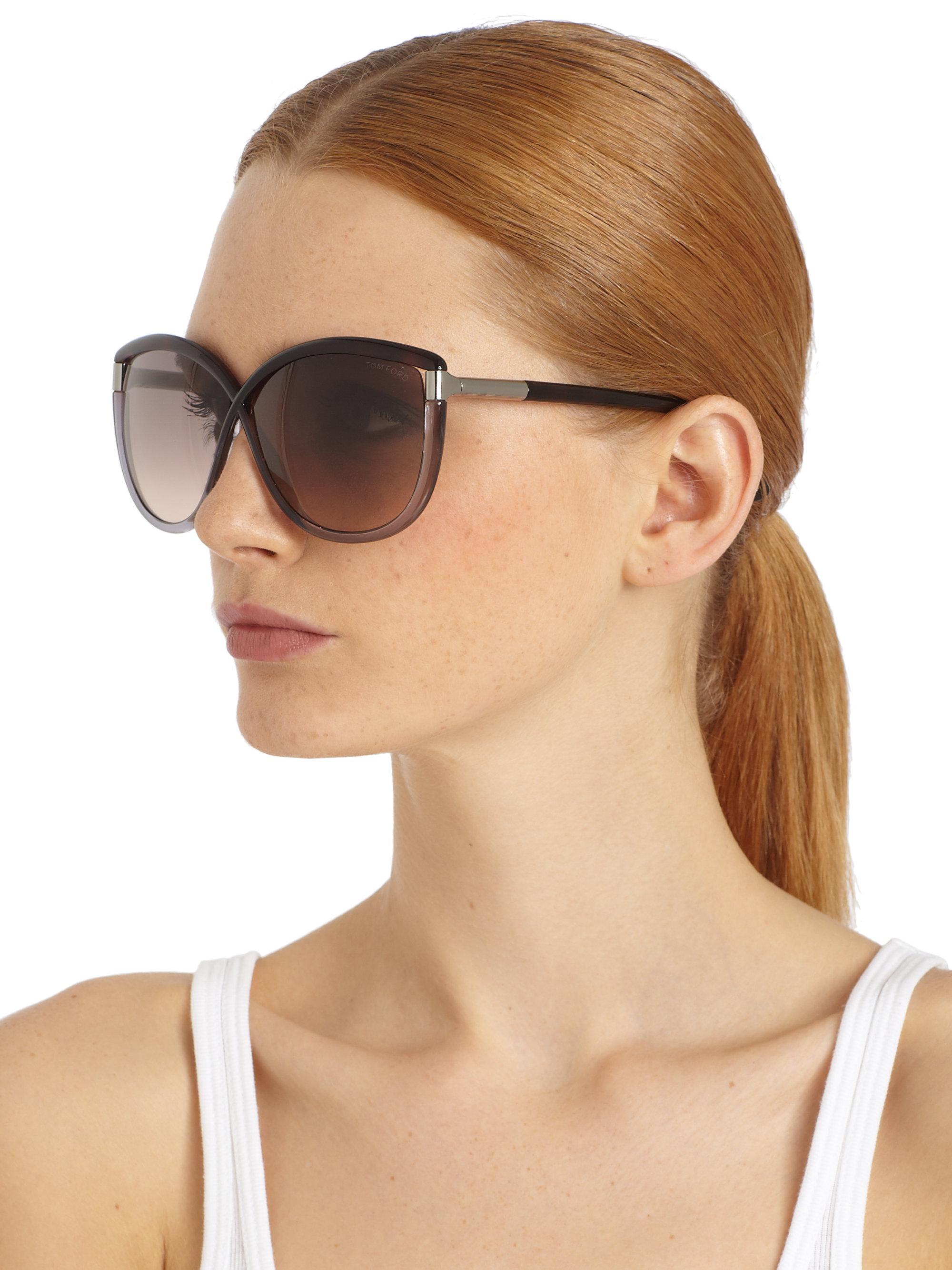a743114e53e1 Lyst - Tom Ford Abbey Oversized Crossover Sunglasses in Metallic