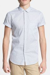 Topman Short Sleeve Tile Print Shirt - Lyst