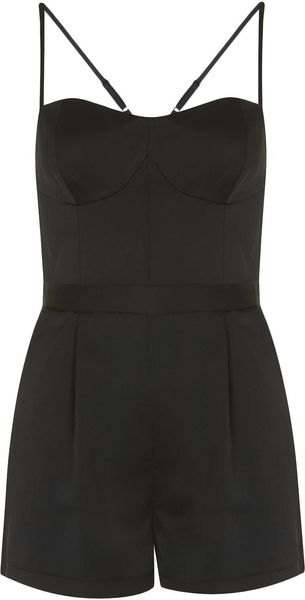 Topshop Petite Satin Strappy Playsuit - Lyst