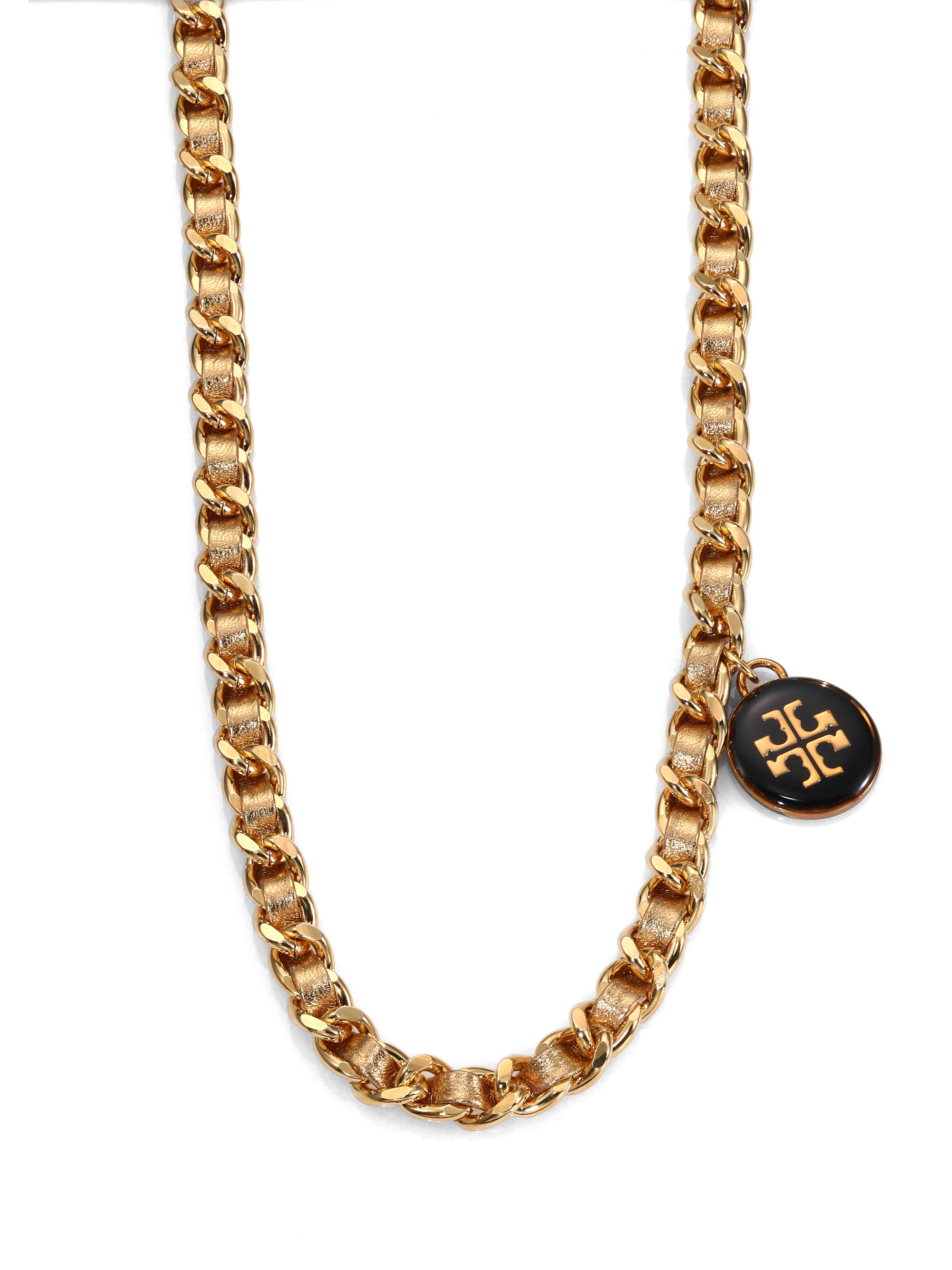 Tory Burch Woven Metallic Leather Chain Logo Necklace In