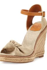 Tory Burch Macy Linen Espadrille Wedge Gold Wash - Lyst