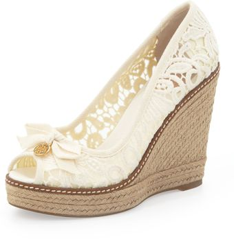 Tory Burch Jackie Lace Espadrille Wedge White - Lyst