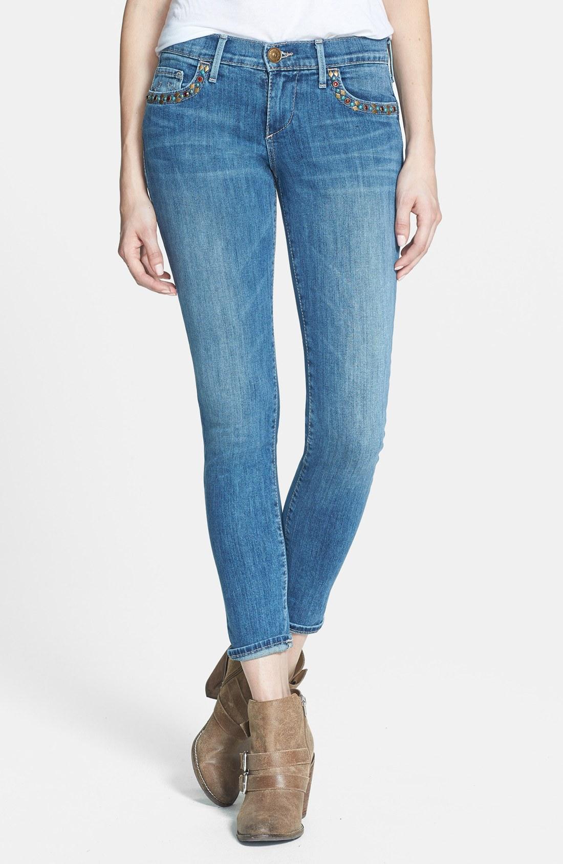 true religion chrissy embellished crop jeans in blue soft. Black Bedroom Furniture Sets. Home Design Ideas