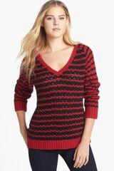 Two By Vince Camuto Bubble Stitch Stripe Vneck Sweater - Lyst