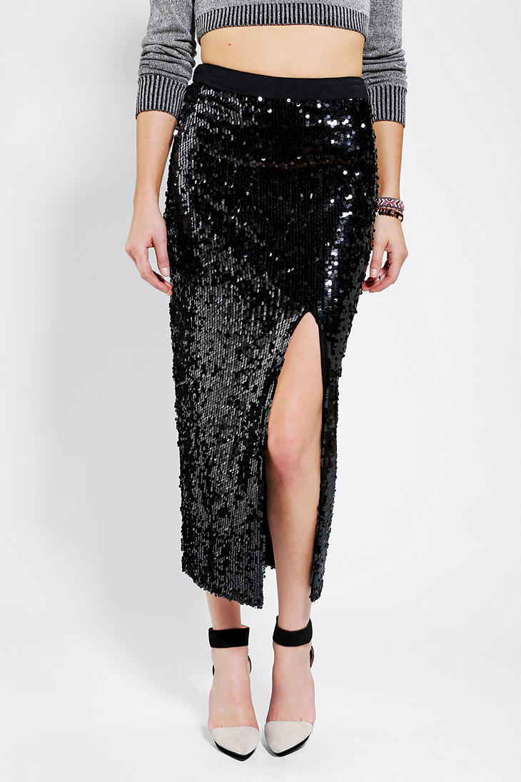 Urban outfitters Blaque Label Sequin Maxi Skirt in Black | Lyst