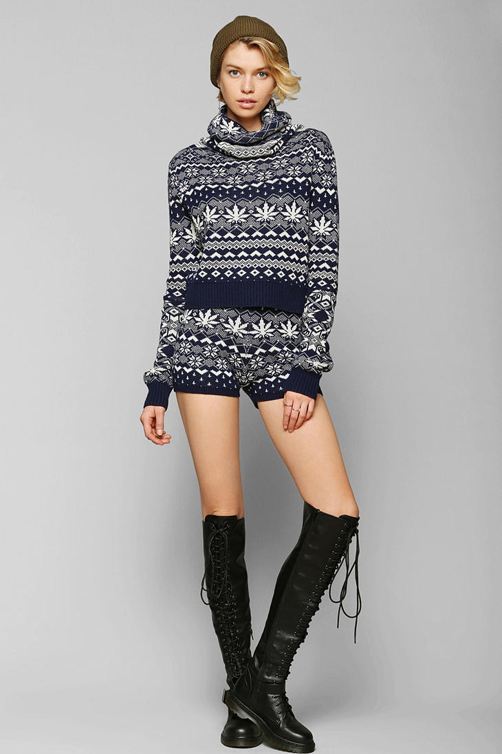 Bdg Bdg Fair Isle Sweater Shorts in Blue | Lyst