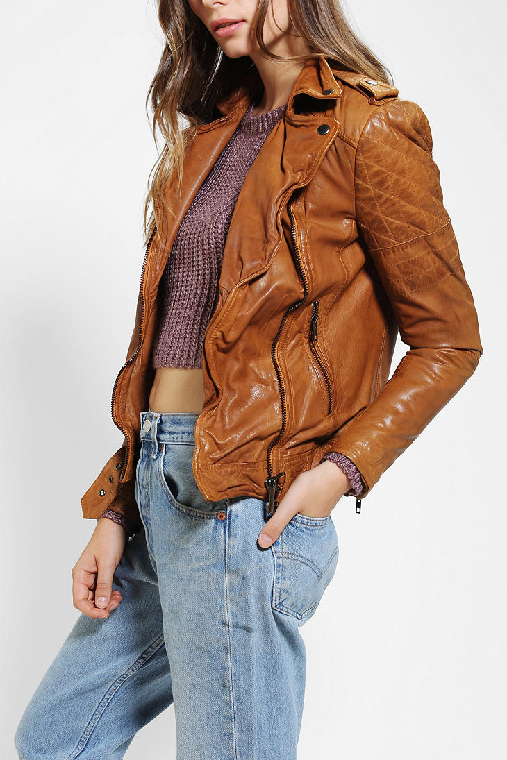 Urban outfitters Muubaa Nido Quilted Leather Moto Jacket in Brown ...
