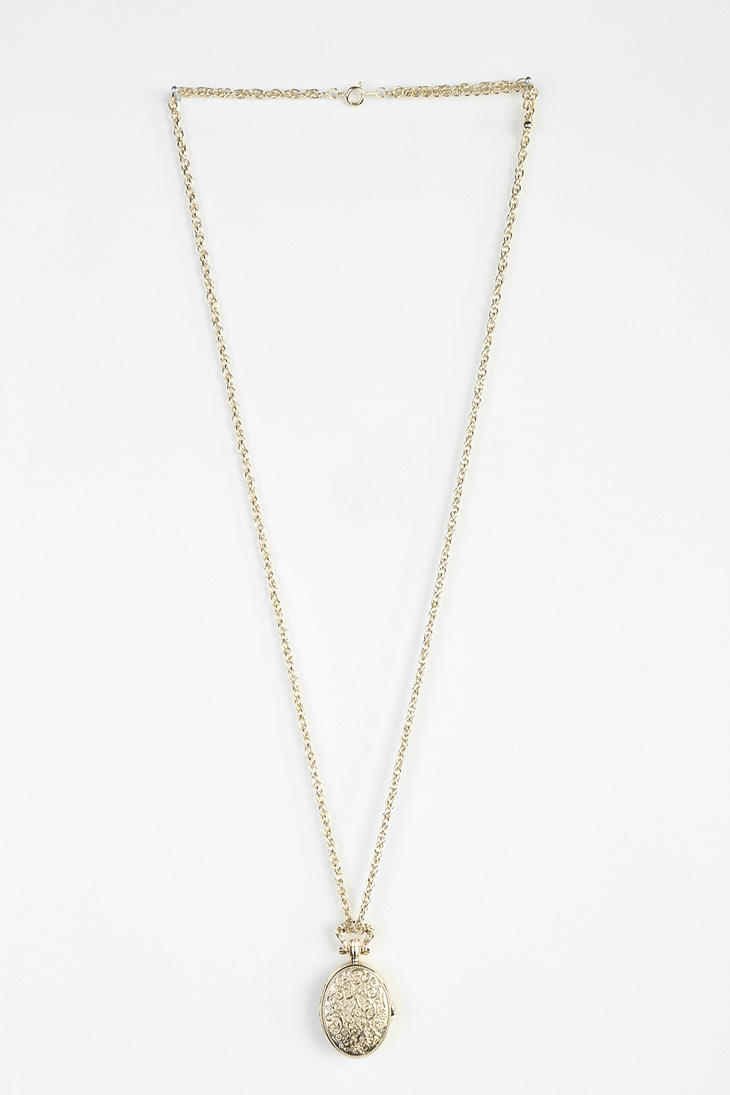 Lyst urban outfitters locket watch necklace in metallic gallery aloadofball Choice Image