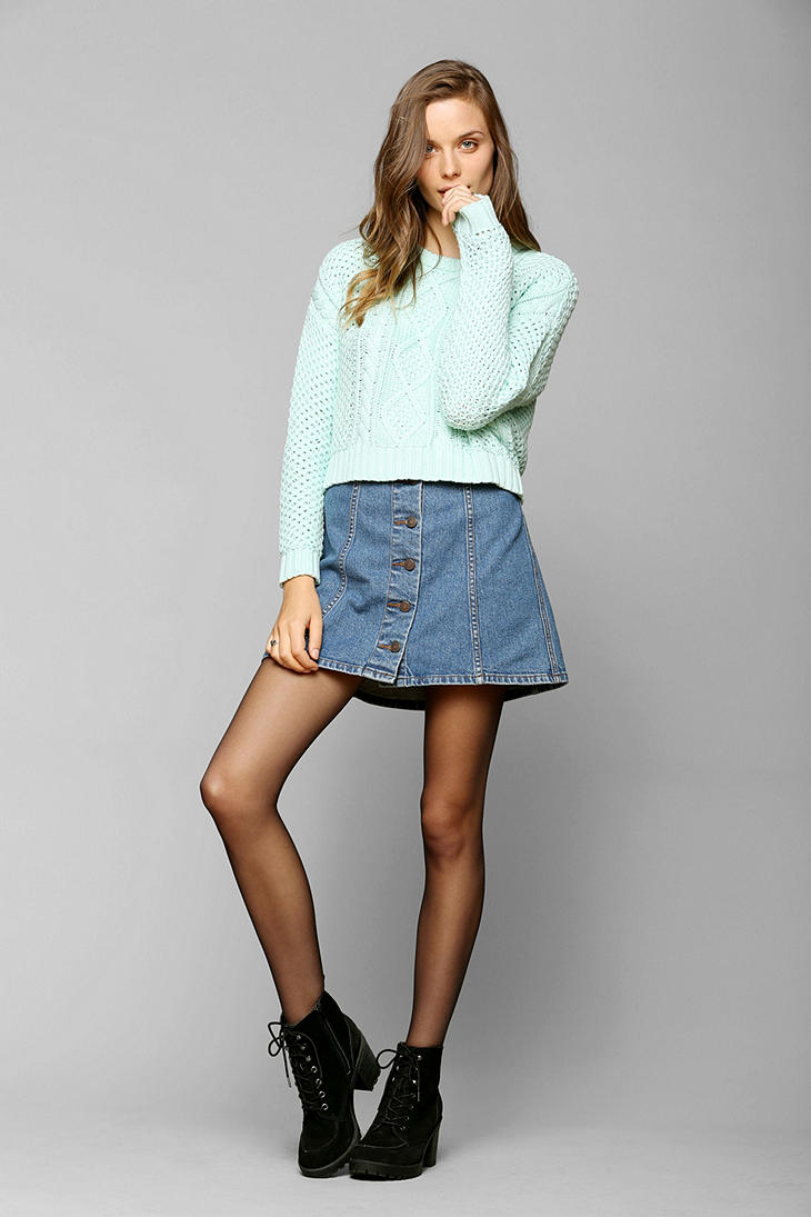 Urban outfitters Bdg Denim Aline Skirt in Blue | Lyst