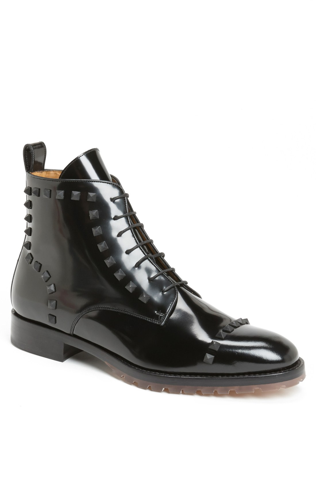 valentino studded leather boot in black for lyst