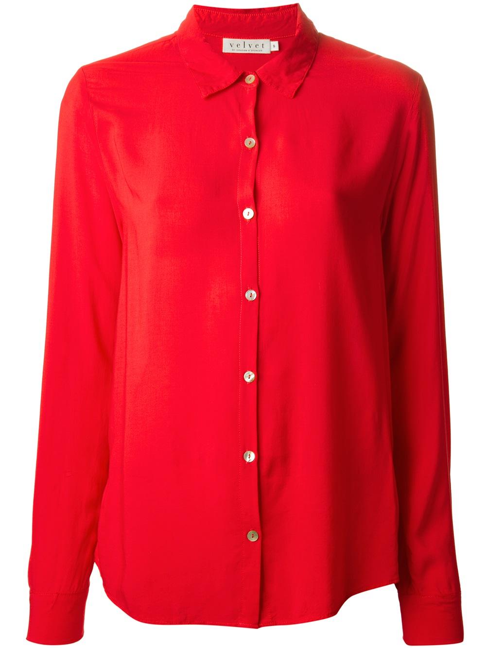 Lyst velvet by graham spencer gelsey shirt in red for Red velvet button up shirt
