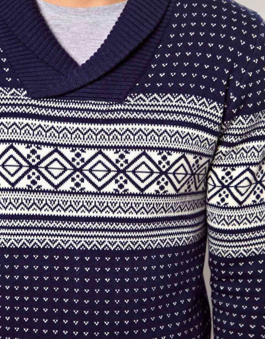 Ymc Esprit Fairisle Sweater with Shawl Neck in Blue for Men | Lyst