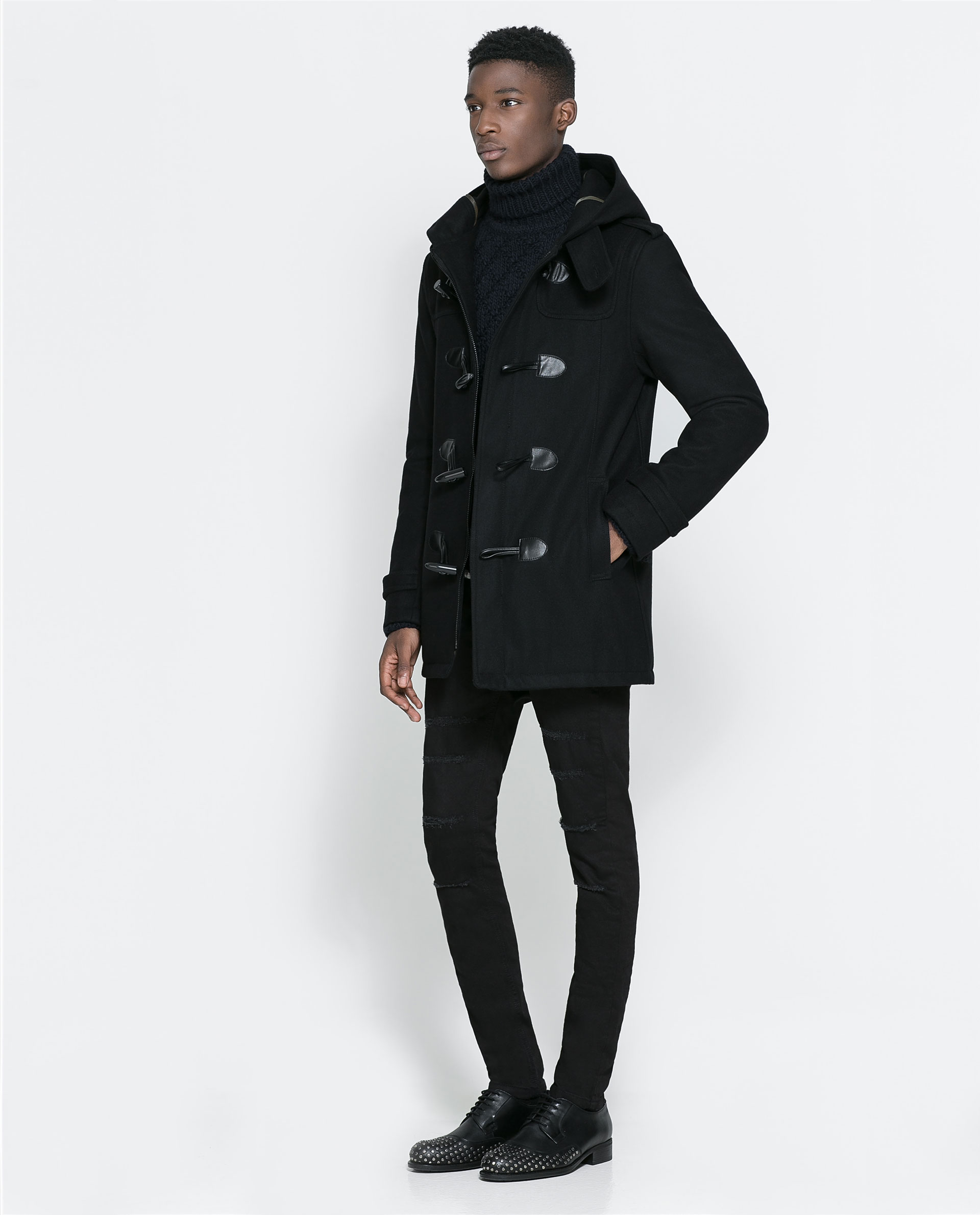 Zara Basic Black Duffle Coat in Black for Men | Lyst