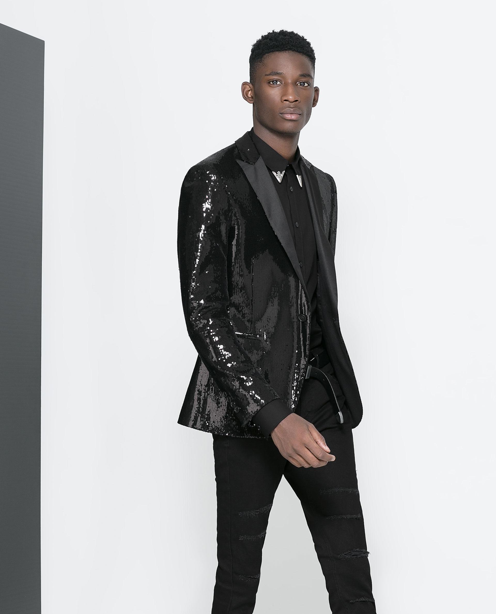 Zara Blazer With Studded Satin Lapel In Black For Men Lyst
