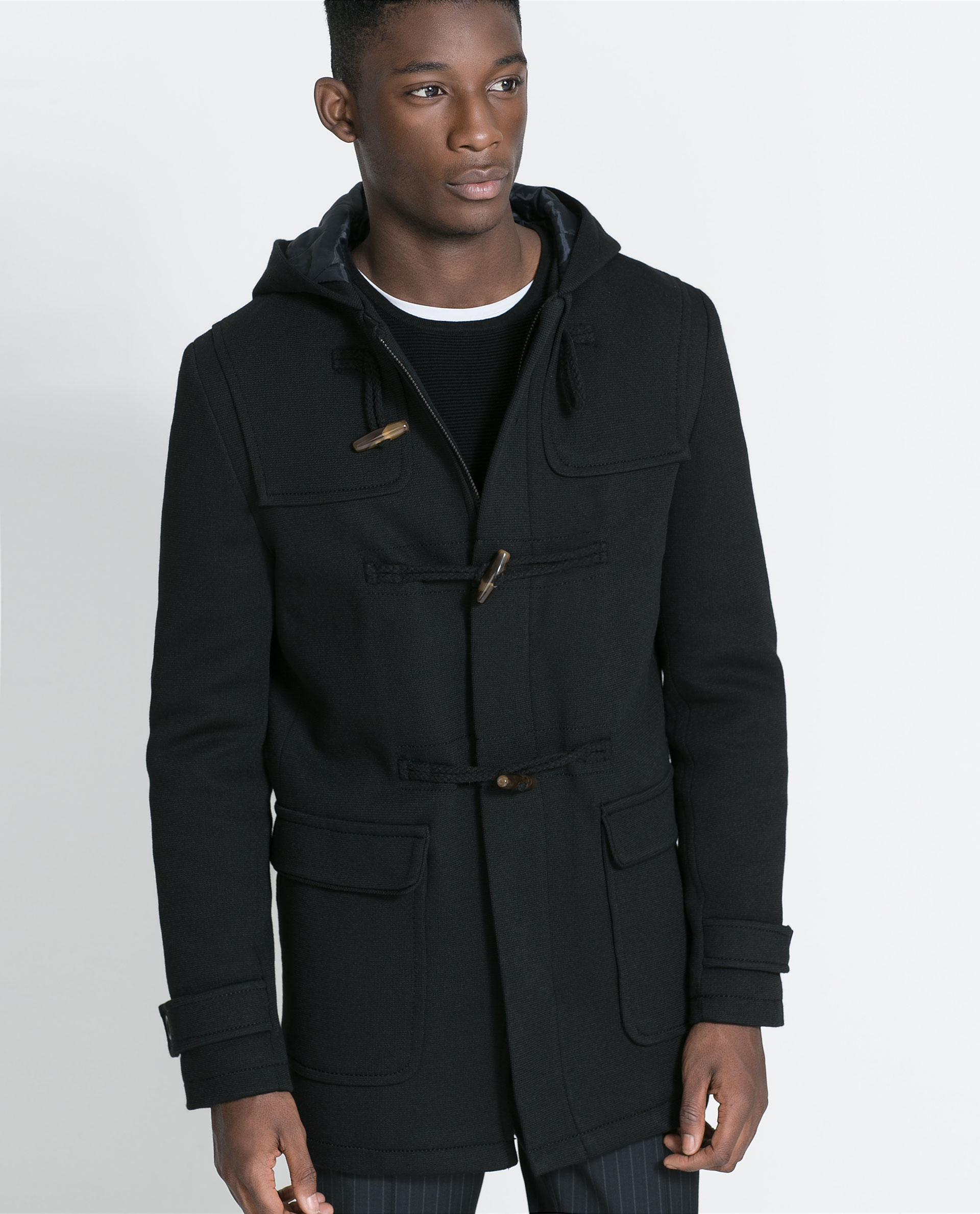 Zara Knit Duffle Coat in Black for Men | Lyst