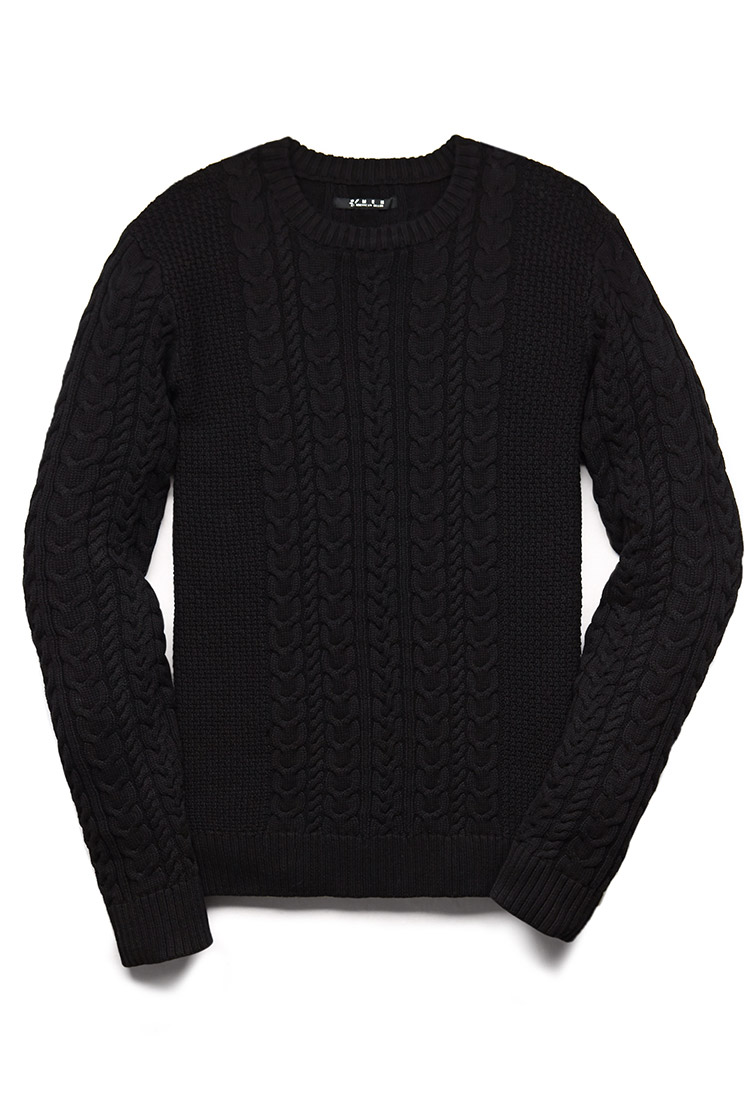 Forever 21 Chunky Cable Knit Sweater in Black for Men | Lyst