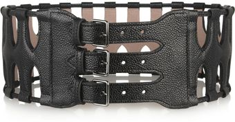 Alaïa Cut-Out Textured-Leather Waist Belt - Lyst