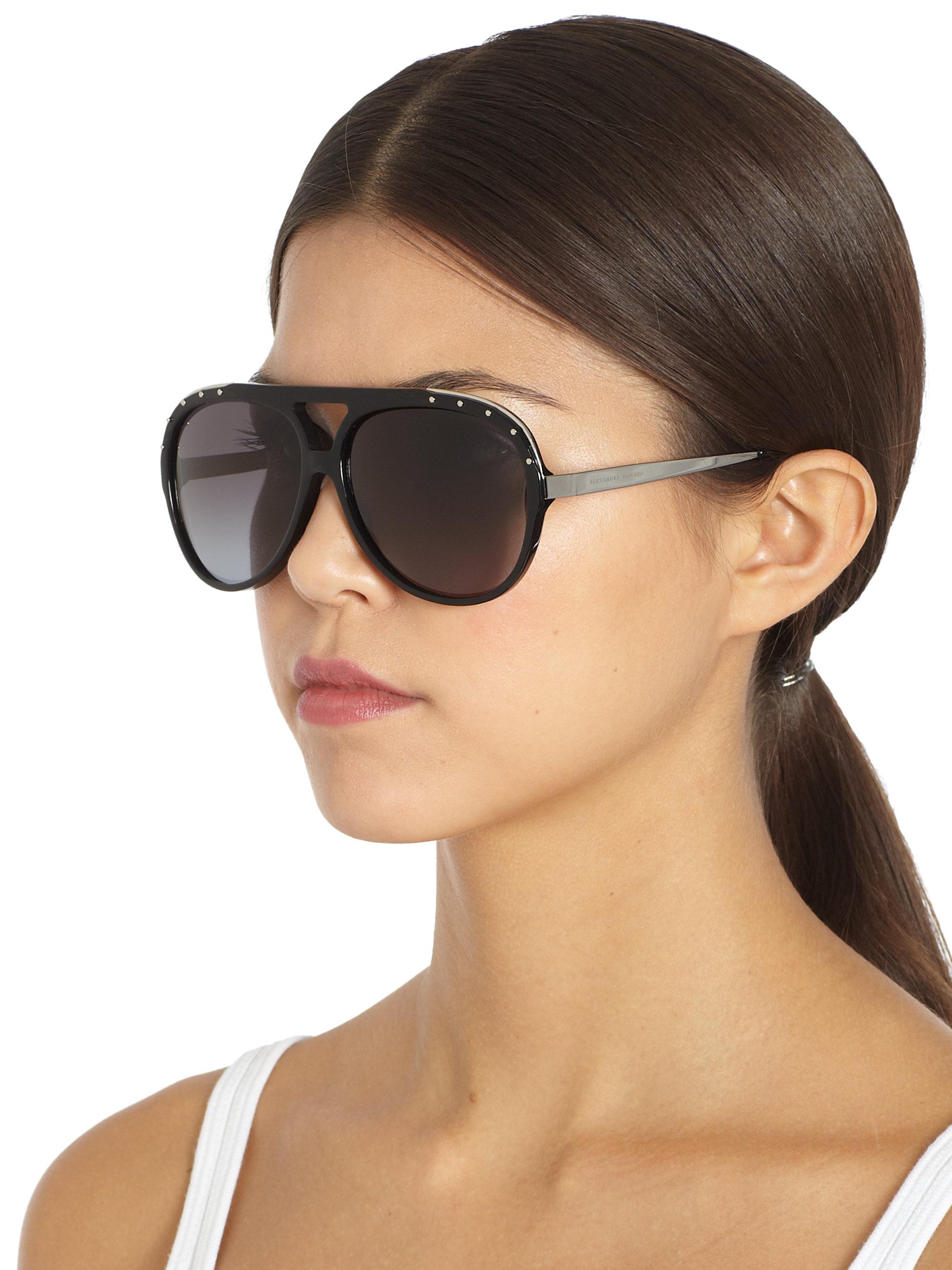 8c5087d61 Alexander McQueen Studded Acetate Aviator Sunglasses in Black - Lyst