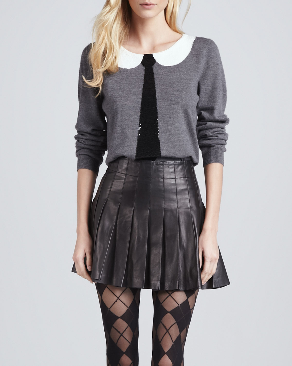 Lyst Alice Olivia Box Pleated Leather Skirt In Black