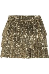 Alice + Olivia Thalia Sequined Silk Mini Skirt - Lyst