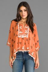 Anna Sui Cat and Birdcage Blouse in Orange - Lyst