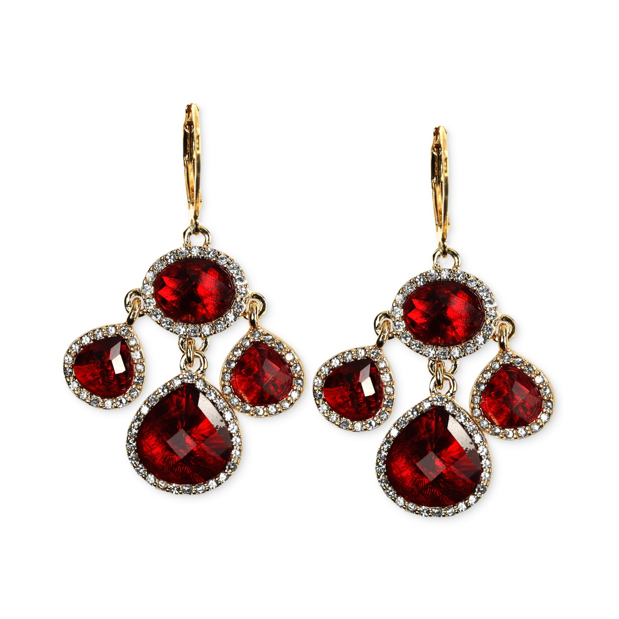 Red Chandelier Earrings: Anne Klein Goldtone Siam Stone And Crystal Pave Chandelier