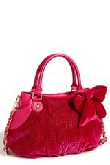 Betsey Johnson Crystal Palace Velvet Satchel - Lyst