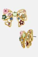 Betsey Johnson Fairyland Embellished Bow Stud Earrings - Lyst