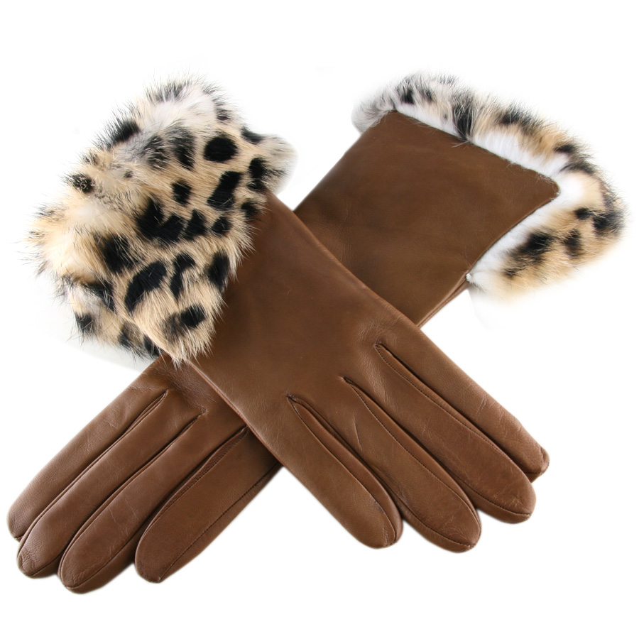 Black leather gloves with fur - Gallery Women S Leather Gloves