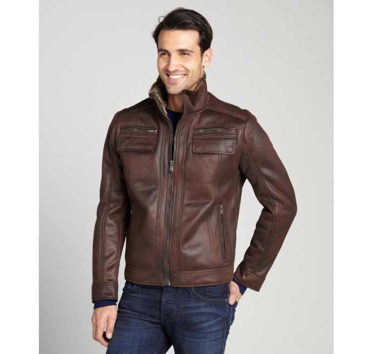 Calvin klein Chocolate Brown Faux Shearling Faux Leather Zip Front ...