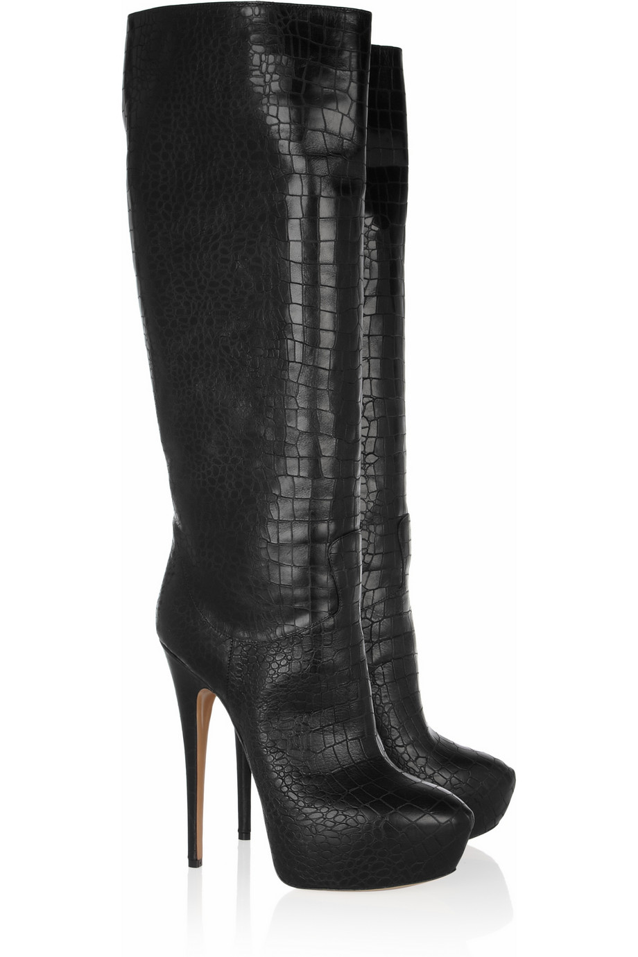 Casadei Croc Effect Leather Knee Boots In Black Lyst