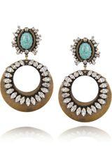 Dannijo Sade Oxidized Brass Swarovski Crystal Earrings - Lyst