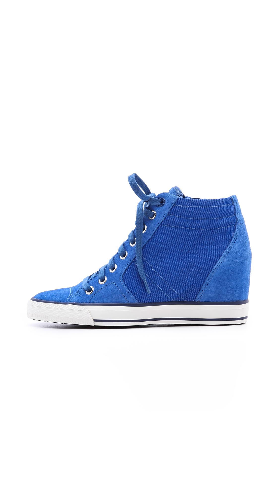 Lyst Dkny Cindy Wedge Sneakers In Blue