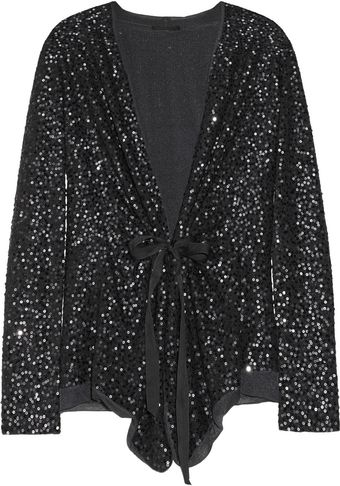 Donna Karan New York Sequined Cashmere and Silk-blend Cardigan - Lyst