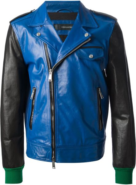 Blue Leather Jacket Leather Jacket in Blue For
