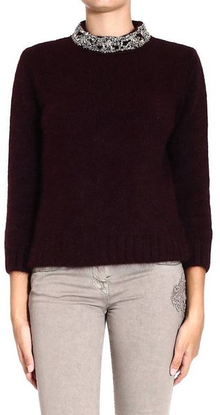 Ermanno Scervino Sweater Mohair Wool Roundneck with Rhinestone - Lyst